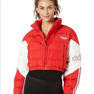 Red Adidas Cropped Puffer Jacket